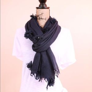 Navy Blue Flower Petals Pearl Blended Cotton Scarf